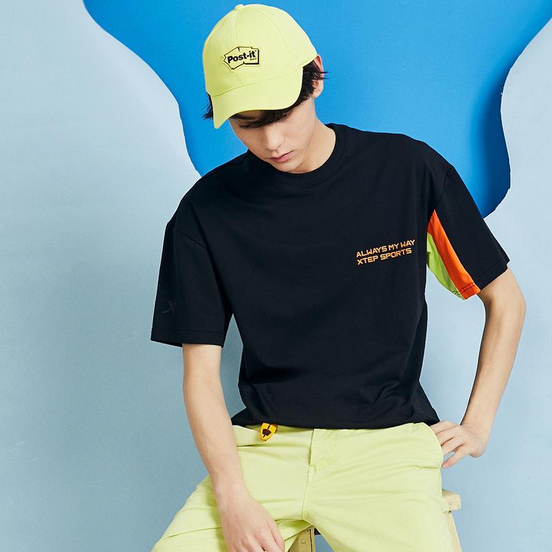 特步 男子短袖 20夏季新款男装潮半袖透气打底上衣简约男士活力T恤880229010003