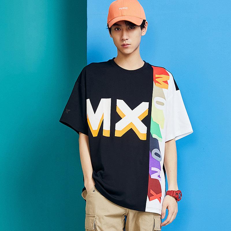 特步 男子短袖 20夏季新款休闲时尚拼接活力T恤880229010001