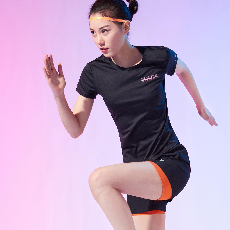 特步 女子针织跑步套装 新款短袖两件套运动时尚套装880228950066