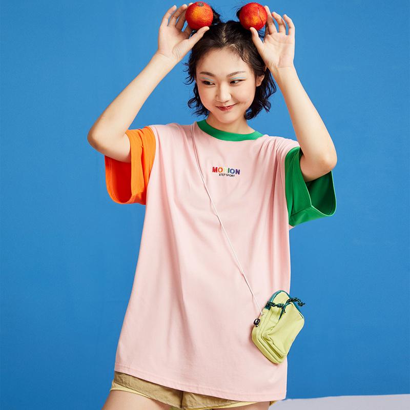 特步 女子短袖针织衫 20年夏新款字母圆领拼色T恤880228010009