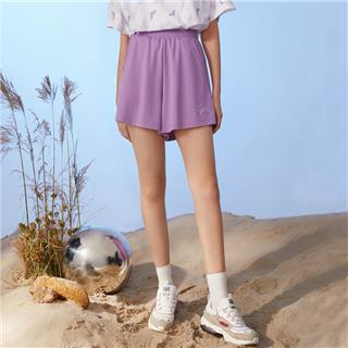 特步 女子针织短裤 20年夏新款宽松跑步运动热裤880228600038