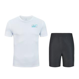 特步 男子针织跑步套装 20年夏新款短袖短裤运动两件套880229950067
