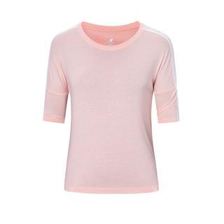 特步 女子短袖针织衫 20年夏新款纯色字母侧边印花运动T恤880228010052