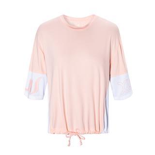 特步 女子短袖针织衫 20年夏新款抽绳字母纯色运动T恤880228010051