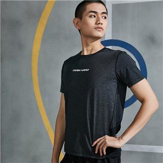 特步 男子短袖针织衫 20年夏新款背后字母印花运动T恤880229010049