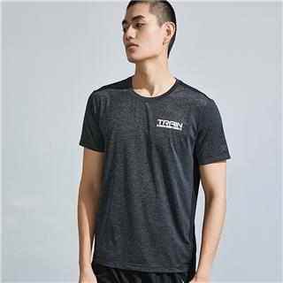特步 男子短袖针织衫 20年夏新款字母纯色运动T恤880229010109