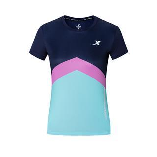 特步 专柜款 女子短袖 20年新款时尚拼色跑步运动T恤980128010295