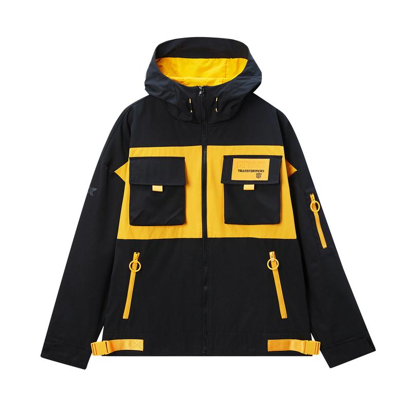 特步 专柜款 男子双层夹克 20年新款连帽变形金刚联名口袋外套980129120454