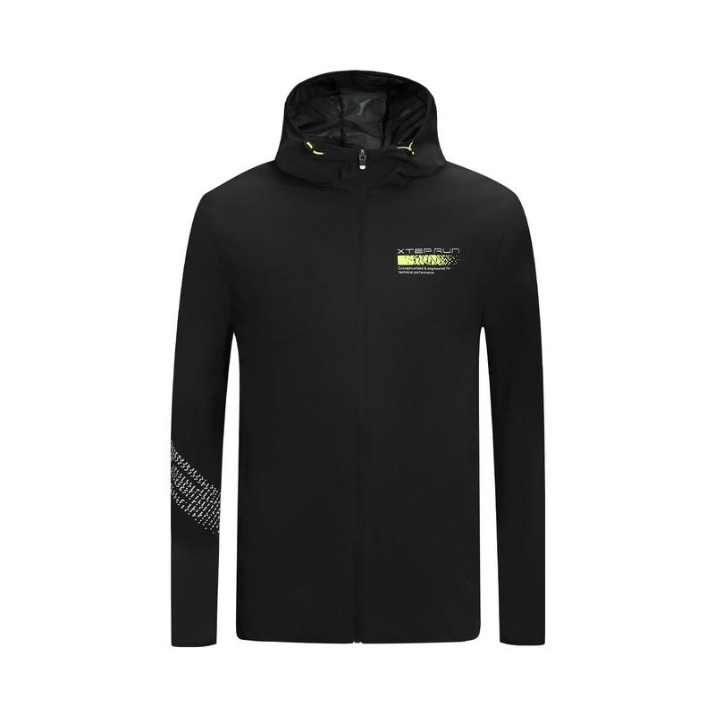 特步 专柜款 男子保暖风衣 20年新款运动连帽拉链跑步外套980129160502