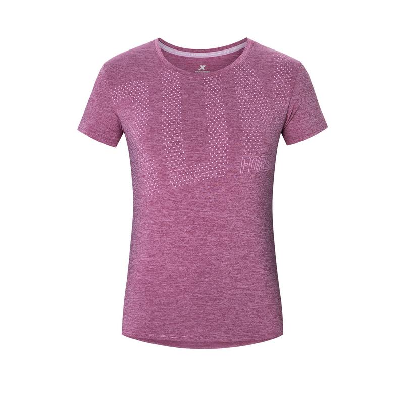 特步 专柜款 女子短袖针织衫 20年夏新款字母印花跑步T恤980228010298