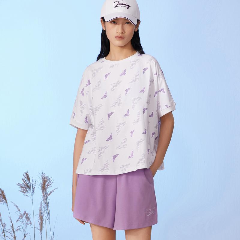 特步 女子跨界短款针织衫 潮流时尚百搭短袖T恤880228010127
