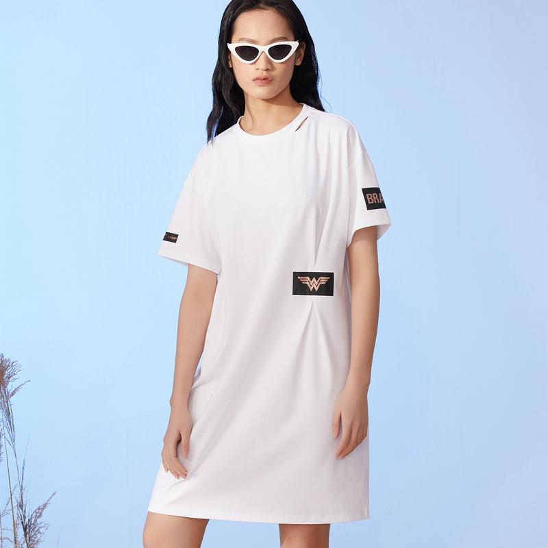 特步 女子跨界针织裙 时尚简约百搭短袖针织裙880228010152