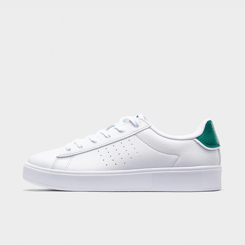 特步 专柜款 女子板鞋 20年夏新款革面透气小白鞋980218316375