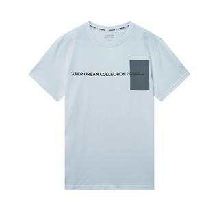 特步 专柜款 男子都市休闲短袖 简约时尚百搭短T针织衫980229010144