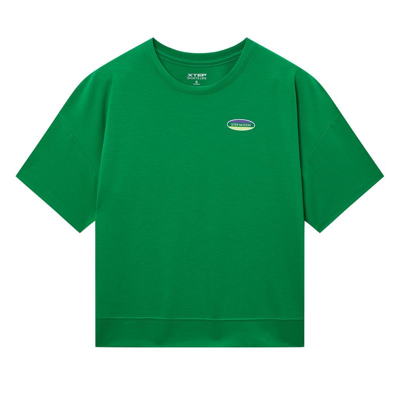 特步 专柜款 女子短袖针织衫 20年夏新款活力字母印花T恤980228010002
