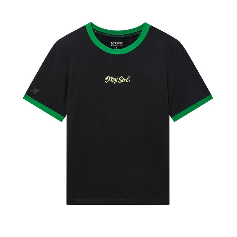 特步 专柜款 女子短袖针织衫 20年夏新款圆领活力休闲T恤980228010010
