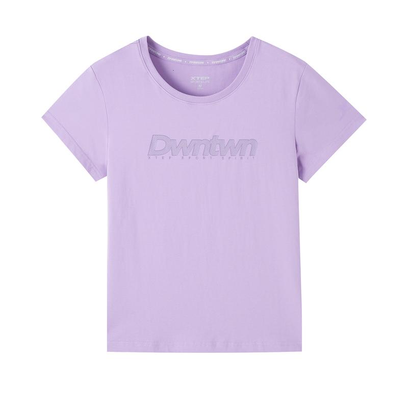 特步 专柜款 女子短袖针织衫 20年新款纯色字母印花T恤980228010196