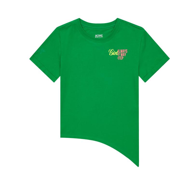 特步 专柜款 女子短袖针织衫 20年夏新款不规则设计T恤980228010255