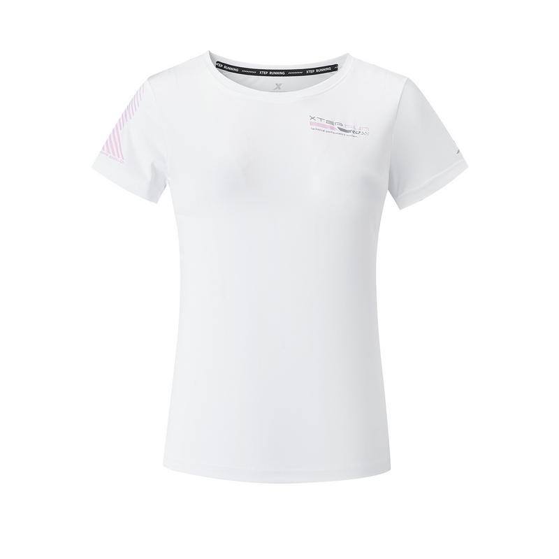 特步 专柜款 女子短袖针织衫 20年夏新款纯色跑步运动T恤980228010301