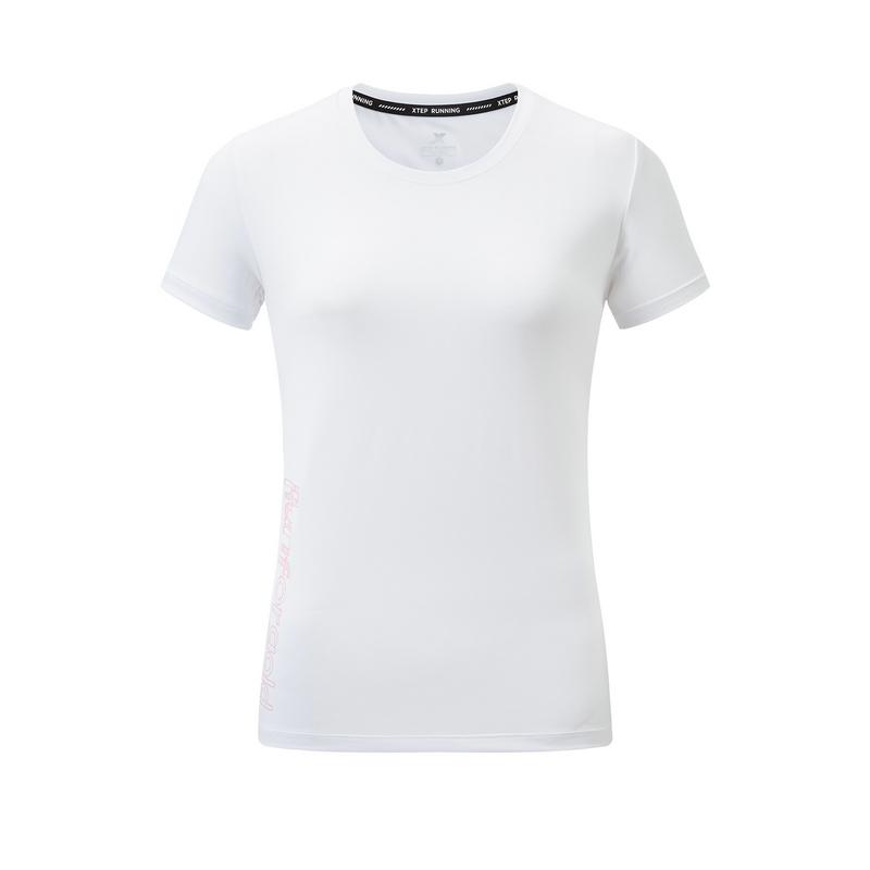 特步 专柜款 女子短袖针织衫 20年夏新款圆领舒适运动T恤980228010311
