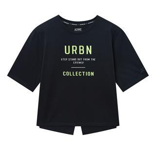 特步 专柜款 女子短袖针织衫 20年夏新款个性设计时尚T恤980228010372