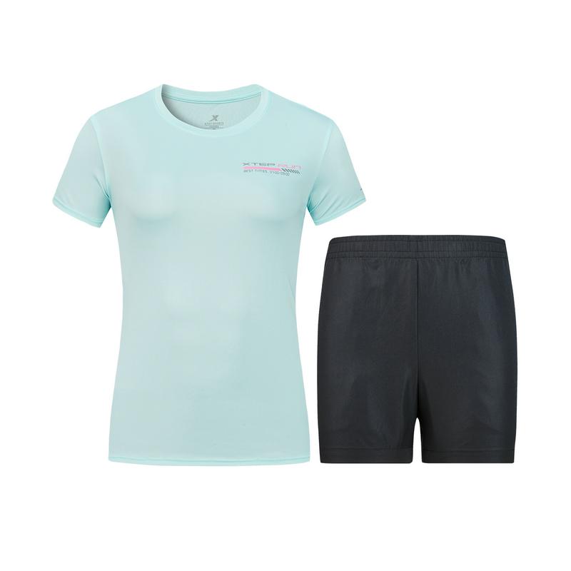 特步 女子套装 新款运动服透气休闲2件套880228950181