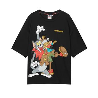 特步 男子短袖 20年新款男女同款猫和老鼠联名T恤880227010220