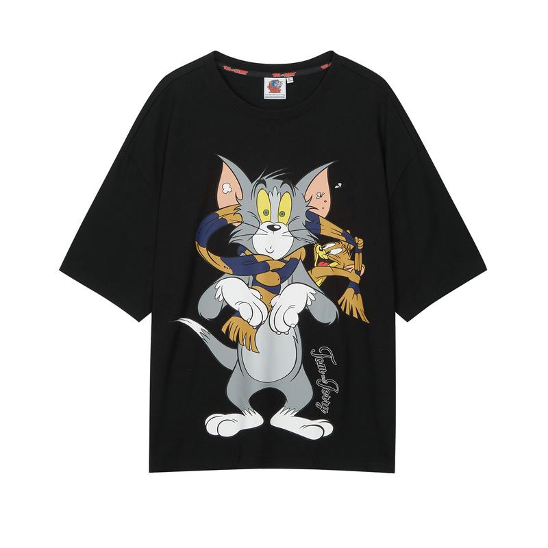 特步 男子短袖 新款男女同款猫和老鼠联名潮流T恤880227010225