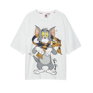 特步 男子短袖 20年新款男女同款猫和老鼠联名潮流T恤880227010225