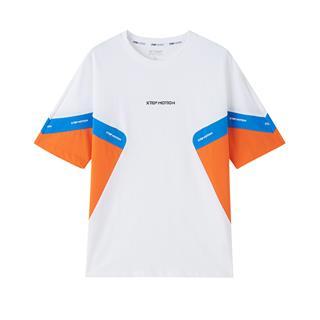 特步 专柜款 男子短袖 都市潮流时尚活力拼接撞色T恤980229010034