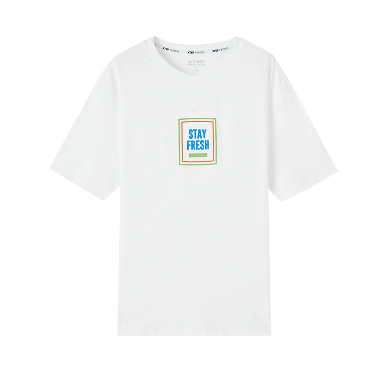 特步 专柜款 男子短袖 新款潮流时尚活力圆领短袖针织衫980229010039