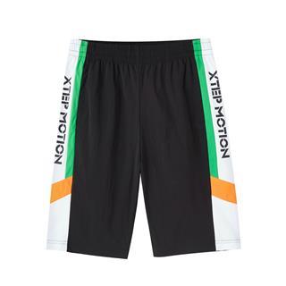 特步 专柜款 男子短裤 新款潮流时尚拼接撞色百搭五分裤980229990050