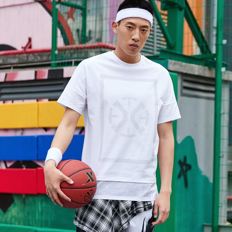 特步 专柜款 男子短袖针织衫 20年新款篮球运动T恤980129010426