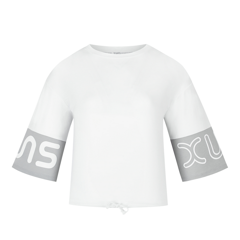 特步 专柜款 女子短袖针织衫 20年新款抽绳健身运动T恤980228010406