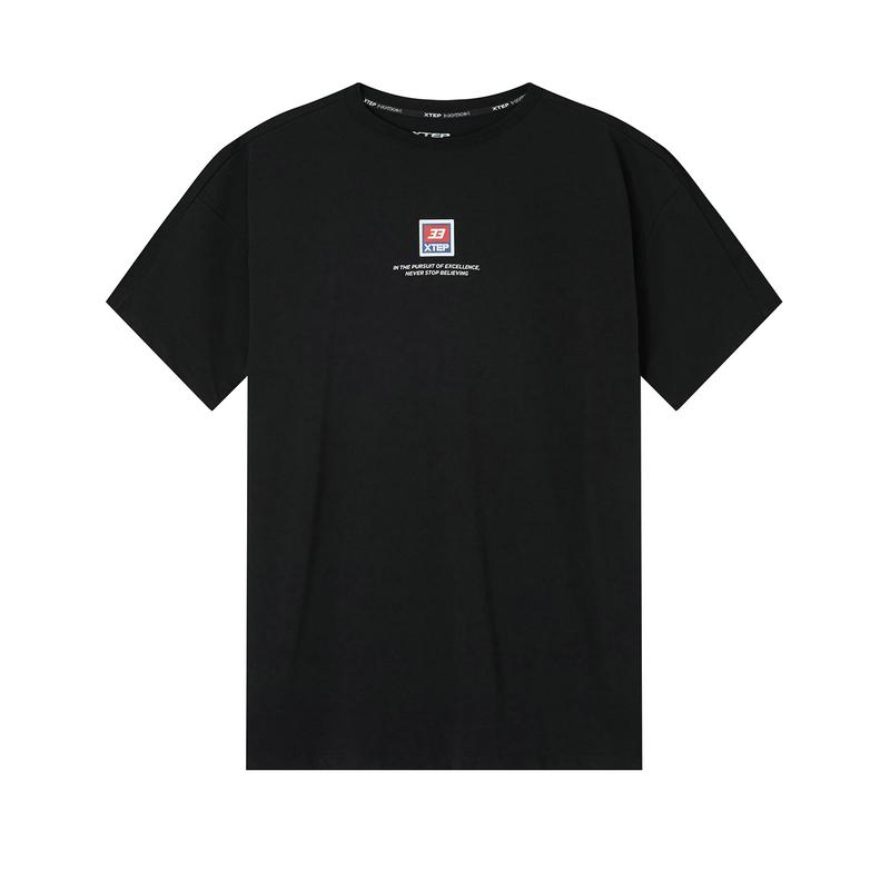 【乐华七子同款】特步 专柜款 男子短袖针织衫 20年新款休闲背后印花T恤980229010032
