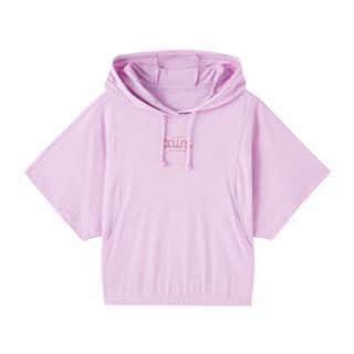 特步 专柜款 女子短袖针织衫 20年新款连帽健身短款上衣980228010389