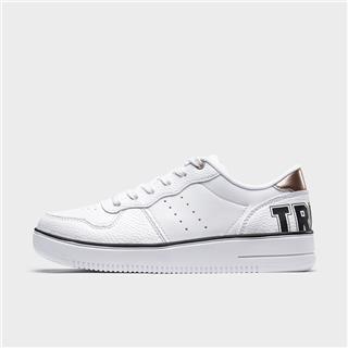 特步 专柜款 女子板鞋 20年新款革面潮流小白鞋980218316370
