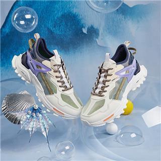 特步 【山海系列】女子休闲鞋 20年新款透气撞色老爹鞋运动鞋880218320017
