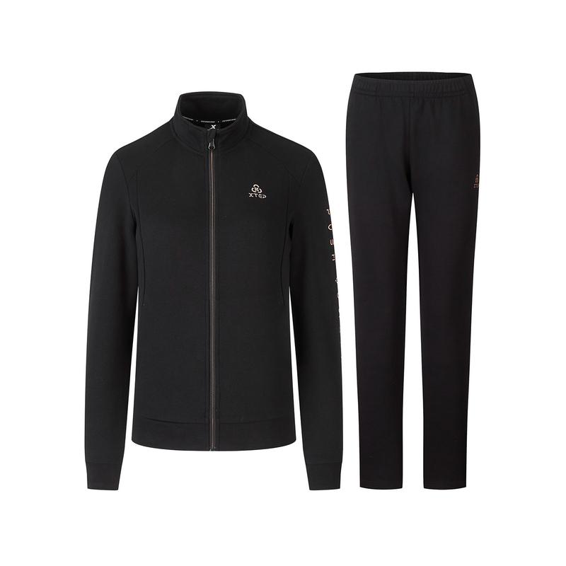特步 女子针织套装 新款拉链针织上衣运动长裤两件套880328960062