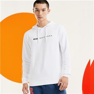 特步 男子卫衣 20年新款连帽运动字母印花套头衫880329050050