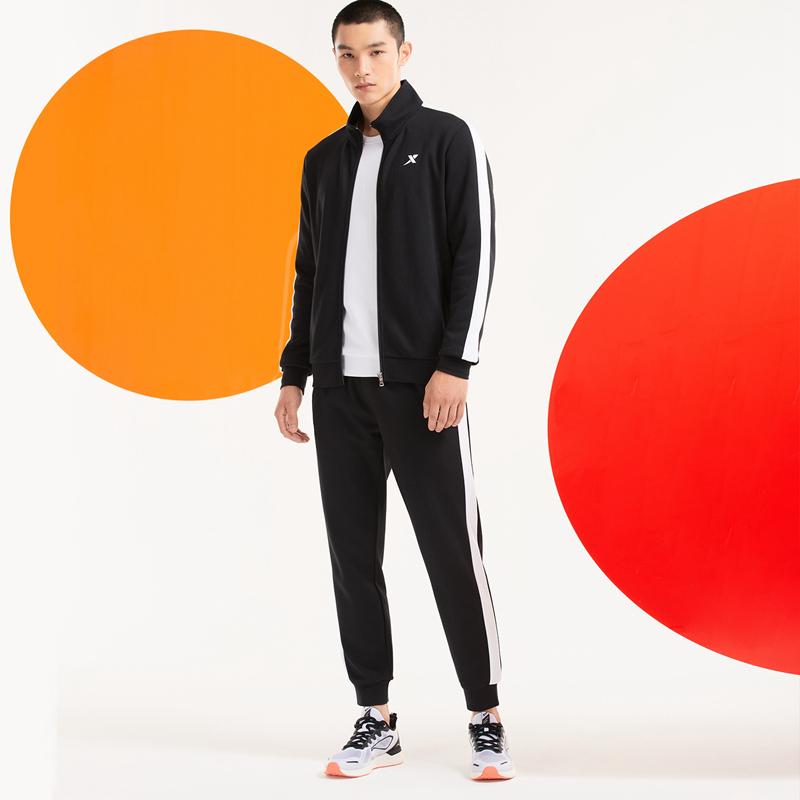 特步 男子针织套装 20年新款拉链针织上衣运动长裤两件套880329960146