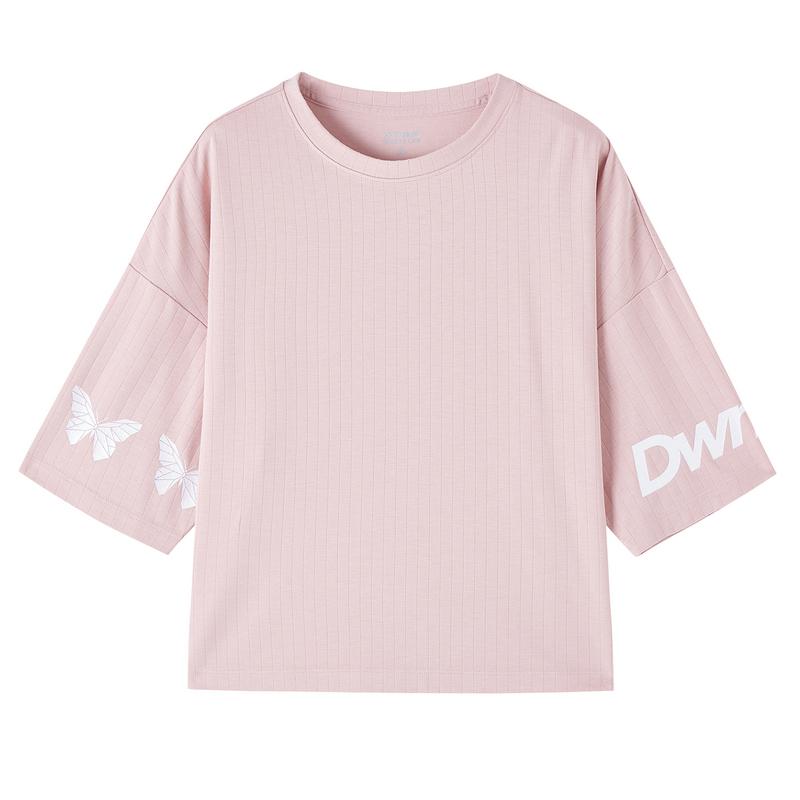 特步 专柜款 女子短袖 都市活力时尚百搭宽松短袖针织衫980328010295