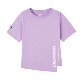 特步 专柜款 女子短袖 都市潮流新款时尚不规则圆领T恤980228010184