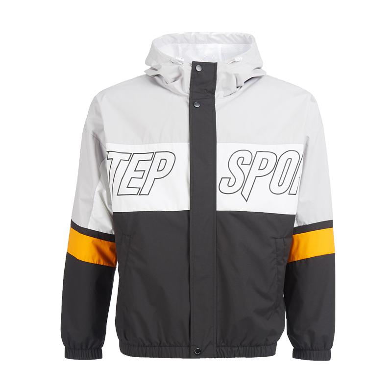 特步 专柜款 男子风衣夹克 20年新款拉链撞色时尚外套980329120340