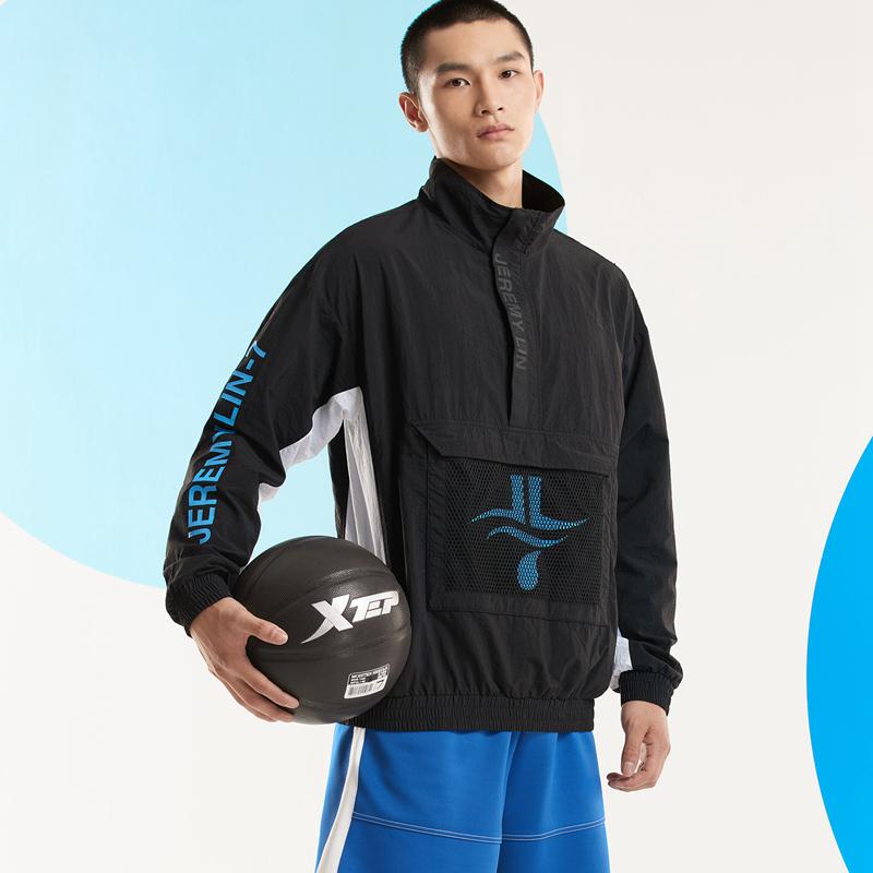 【林书豪联名】特步 男子单夹克 20年新款潮流立领拼接运动篮球卫衣上衣880329110131
