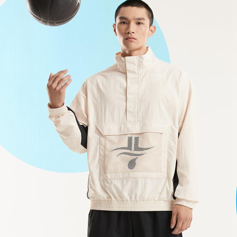 【林书豪联名】特步 男子单夹克 新款潮流立领拼接运动篮球卫衣上衣880329110131