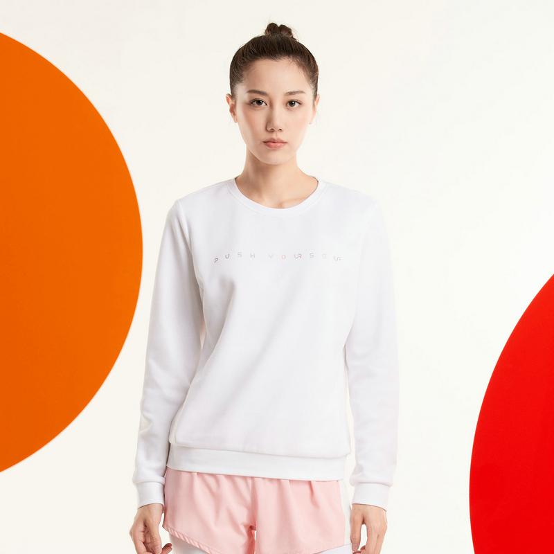 特步 女子卫衣 20年新款简约时尚百搭套头圆领卫衣880328050056