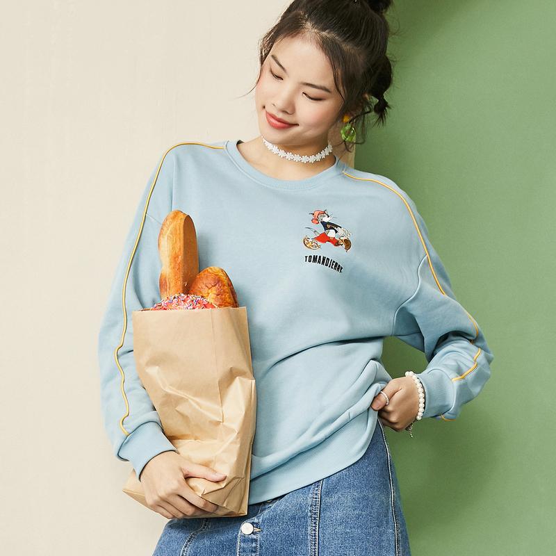 【猫和老鼠联名款】特步 女子卫衣 新款都市时尚百搭潮流卫衣880328920141