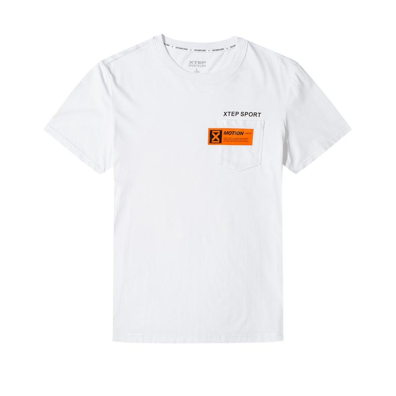 特步 男子T恤 20年新款时尚都市休闲透气短袖上衣880229010178