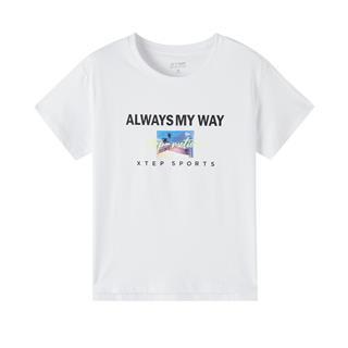 特步 专柜款 女子休闲T恤 20年新款圆领活力舒适针织衫980328010539